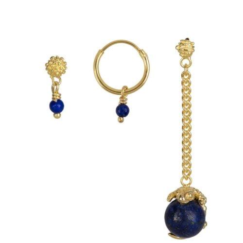 E902 Gold Dark Blue EARRING Lizard Lapiz Lazuli Mix and Match Earrings Set Gold Plated (3 pieces) 79,95 euro