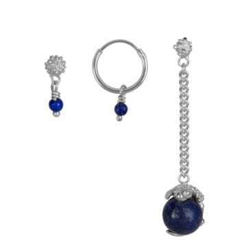 E902 Silver Dark Blue EARRING Lizard Lapiz Lazuli Mix and Match Earrings Set Silver (3 pieces) 69,95 euro
