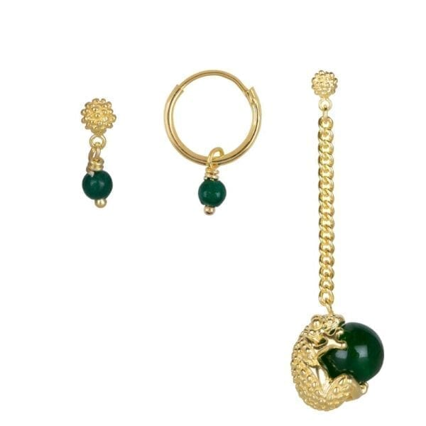 E903 Gold Dark Green EARRING Frog Jade Mix and Match Earrings Set Gold Plated (3 pieces) 79,95 euro