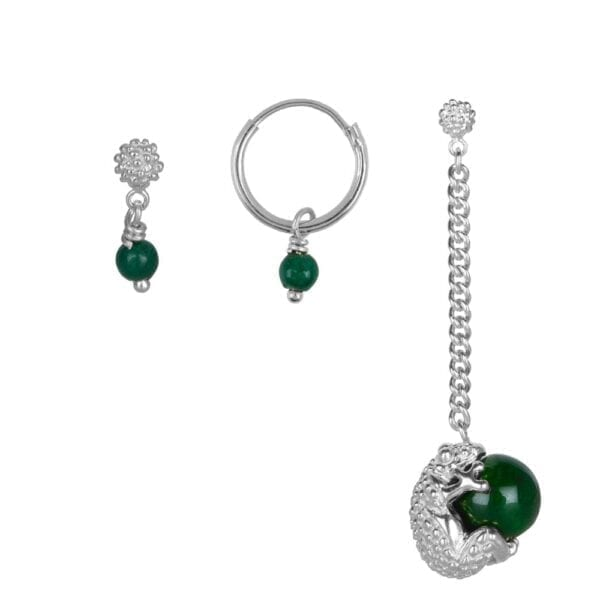 E903 Silver Dark Green EARRING Frog Jade Mix and Match Earrings Set Silver (3 pieces) 69,95 euro