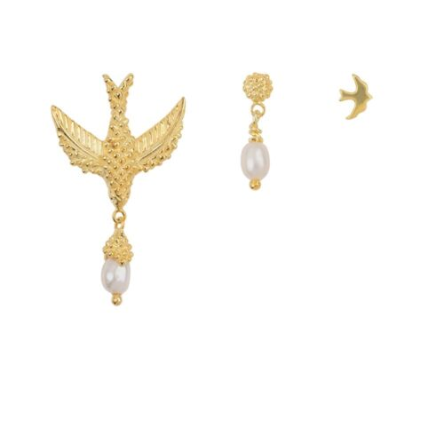 E906 Gold EARRING Bird Mix Gold Plated (three pieces) 69,95 euro