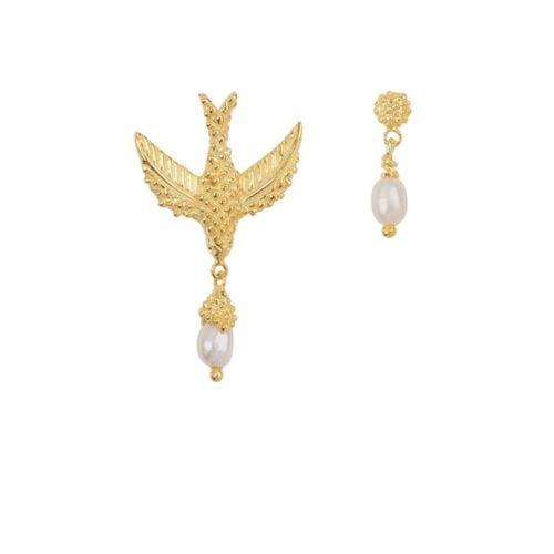 E906a Gold EARRING Bird Pearl Earring Gold Plated 59,95 euro