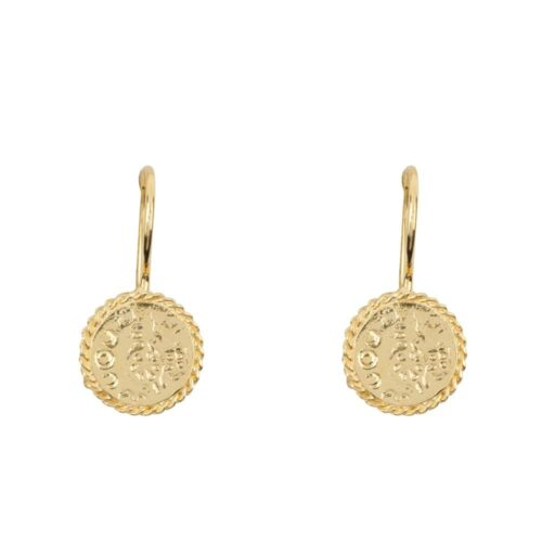 E910 Gold EARRING Round Old Coin Chain Hook Earring Gold Plated 44,95 euro
