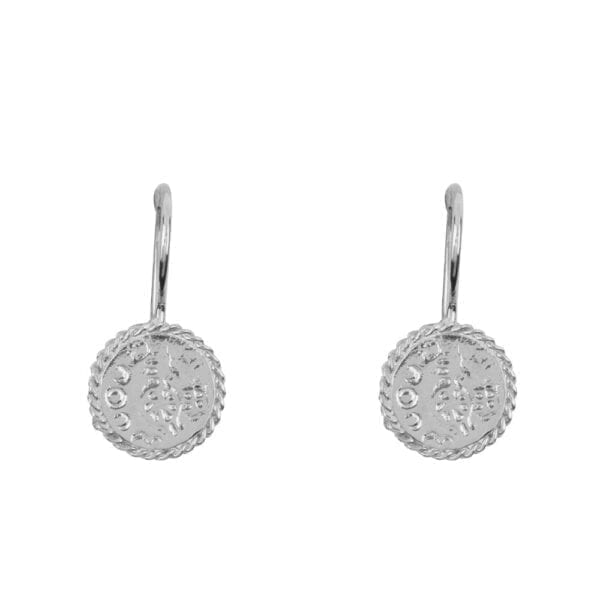 E910 Silver EARRING Round Old Coin Chain Hook Earring Silver 34,95 euro