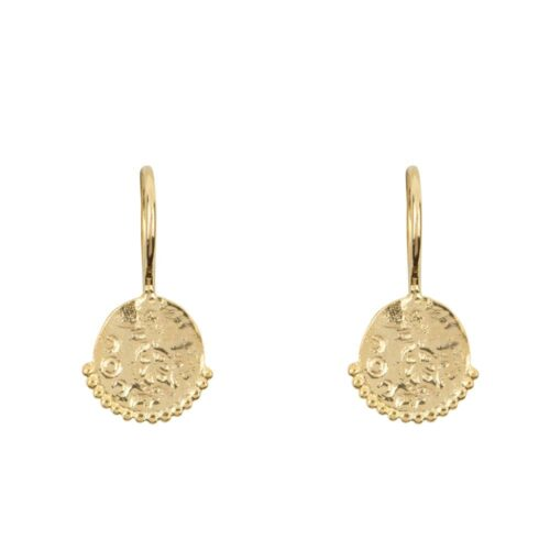 E910a Silver EARRING Round Old Coin Dots Hook Earring Silver 34,95 euro
