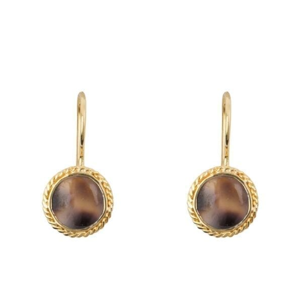 E912 Gold EARRING Tiger Shell Round Chain Hook Earring Gold Plated 44,95 euro