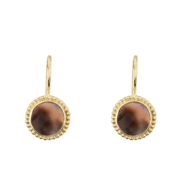 E913 Gold EARRING Tiger Shell Round Dots Hook Earring Gold Plated 44,95 euro