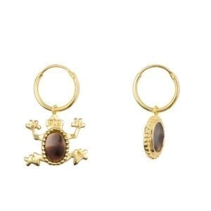 E915 Gold EARRING Tiger Shell Frog Small Hoop Earring Gold Plated 49,95 euro