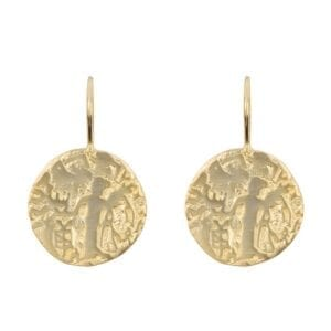 E916 Gold EARRING Vintage Old Coin Hook Earring Gold Plated 49,95 euro