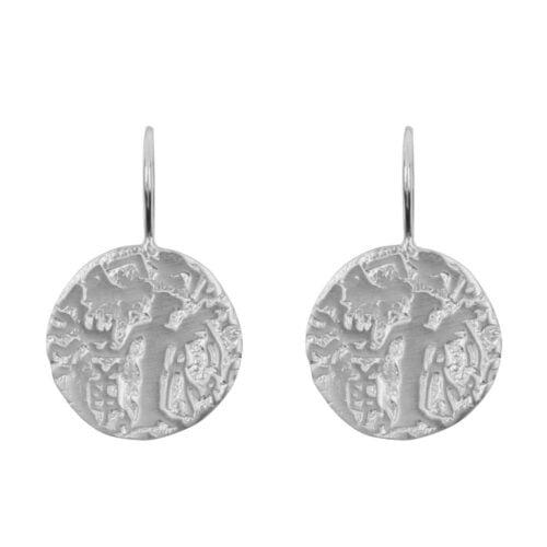 E916 Silver EARRING Vintage Old Coin Hook Earring Silver 39,95 euro