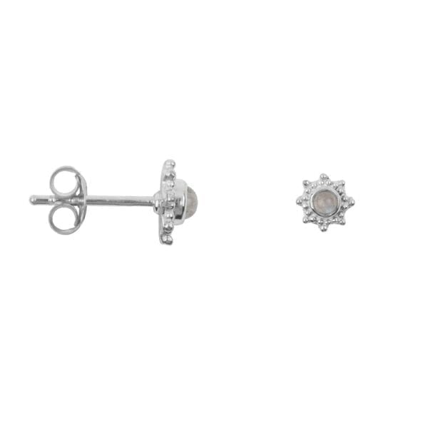 E918 Silver EARRING Antique Dotted Octagon Moonstone Silver 29,95 euro