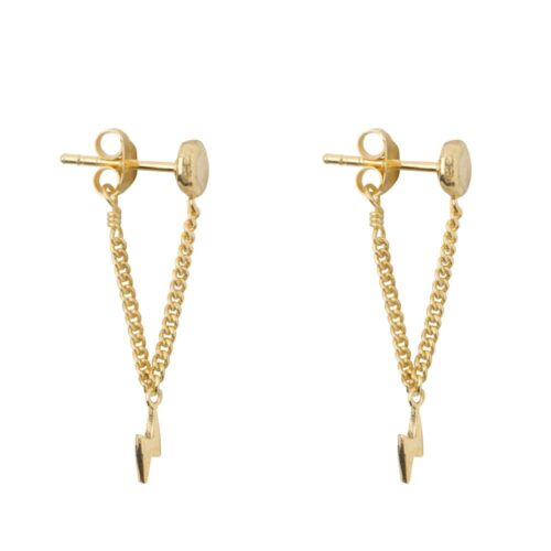 E920 Gold EARRING Round Gold Bar Chain Flash Earring Gold Plated 39,95 euro