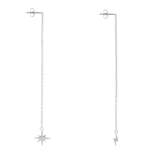 E921 Silver EARRING Chain Flash and Flash Star Earring Silver 34,95 euro