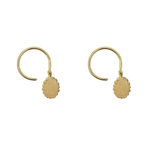 E929 Gold EARRING Dotted Round Charm Ring Earring Gold Plated 34,95 euro