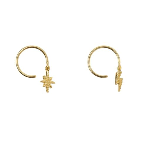E930 Gold EARRING Flash and Flash Star Ring Earring Gold Plated 34,95 euro