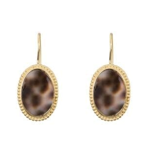 E940 Gold EARRING Tiger Shell Big Oval Dots Hook Earring Gold Plated 49,95 euro