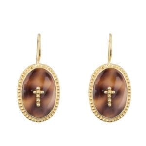 E940a Gold EARRING Tiger Shell Big Oval Dots Cross Hook Earring Gold Plated 49,95 euro