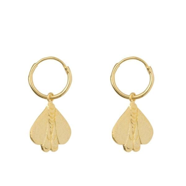 E941 Gold EARRING Small Hoop Moth Earring Gold Plated 59,95 euro