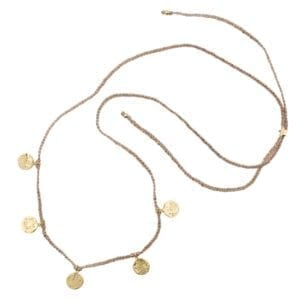 N910 Gold NECKLACE Round Old Coins Braided Rope Necklace Gold Plated 49,95 euro