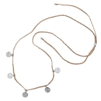 N910 Silver NECKLACE Round Old Coins Braided Rope Necklace Silver 44,95 euro