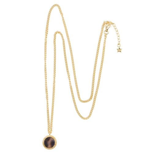 N912 Gold NECKLACE Tiger Shell Round Chain Necklace Gold Plated 69,95 euro