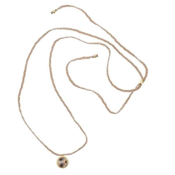 N912a Gold NECKLACE Tiger Shell Round Chain Braided Rope Necklace Gold Plated 44,95 euro