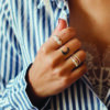Three Antique Dotted Octagons Moonstone Ring op model