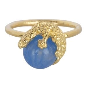 R901 Gold Light Blue RING Lizard Calcedoon Stone Ring Gold Plated 59,95 euro