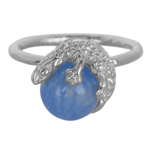 R901 Silver Light Blue RING Lizard Calcedoon Stone Ring Silver 49,95 euro