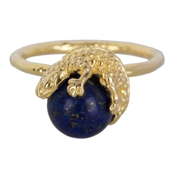 R902 Gold Dark Blue RING Lizard Lapiz Lazuli Ring Dark Blue Gold Plated 59,95 euro
