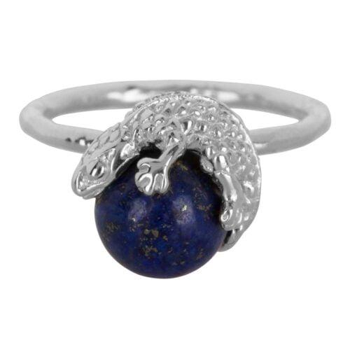 R902 Silver Dark Blue RING Lizard Lapiz Lazuli Ring Dark Blue Silver 49,95 euro