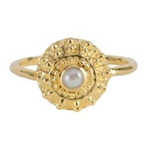 R907 Gold RING Antique Pearl Ring Gold Plated 54,95 euro