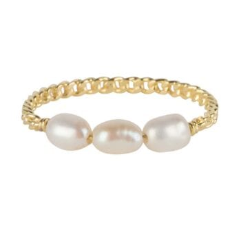 R908 Gold RING Three Pearls Chain Ring Gold Plated 44,95 euro