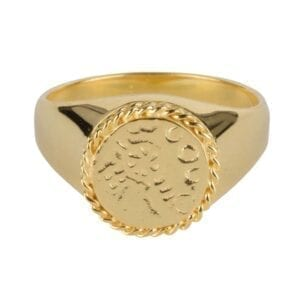 R910 Gold RING Round Old Coin Chain Signet Ring Gold Plated 59,95 euro