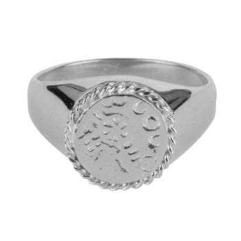 R910 Silver RING Round Old Coin Chain Signet Ring Silver 49,95 euro