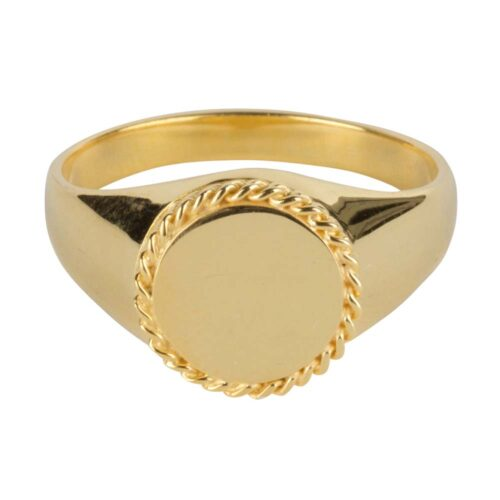 R911 Gold RING Round Plain Coin Chain Signet Ring Gold Plated 59,95 euro
