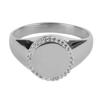 R911 Silver RING Round Plain Coin Chain Signet Ring Silver 49,95 euro