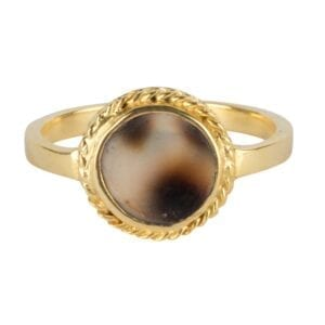 R912 Gold RING Tiger Shell Round Chain Ring Gold Plated 39,95 euro