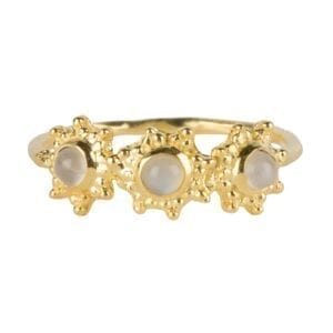 R919 Gold RING Three Antique Dotted Octagons Moonstone Ring Gold Plated 44,95 euro