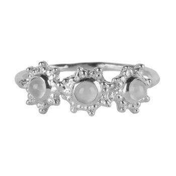 R919 Silver RING Three Antique Dotted Octagons Moonstone Ring Silver 39,95 euro