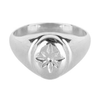R921 Silver RING Flash Star Signet Ring Silver 54,95 euro