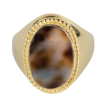 R940 Gold RING Tiger Shell Big Oval Dots Signet Ring Gold Plated 69,95 euro