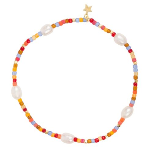 B948 Gold BRACELET Colour Beads Pearls Bracelet Gold Plated