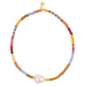B948a Gold BRACELET Colour Beads One Big Pearl Bracelet Gold Plated