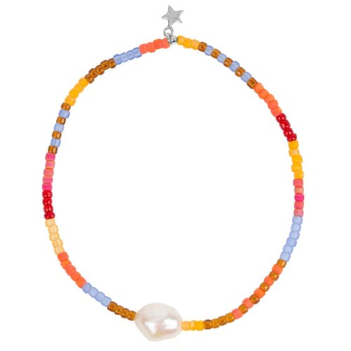B948a Silver BRACELET Colour Beads One Big Pearl Bracelet Silver