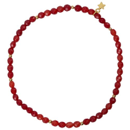 B950 Gold Coral BRACELET Beads Red Agate Bracelet Gold Plated