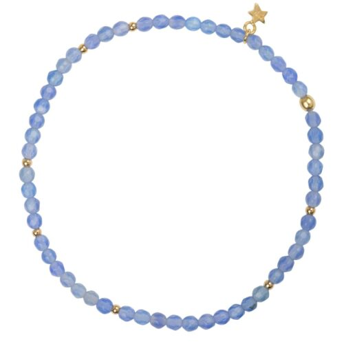 B950 Gold Light Blue BRACELET Beads Blue Calcedone Bracelet Gold Plated