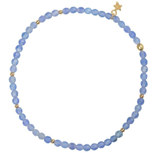 B950 Gold Light Blue BRACELET Beads Blue Calcedone Bracelet Gold Plated
