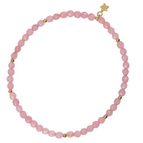 B950 Gold Pink BRACELET Beads Rosequartz Bracelet Gold Plated