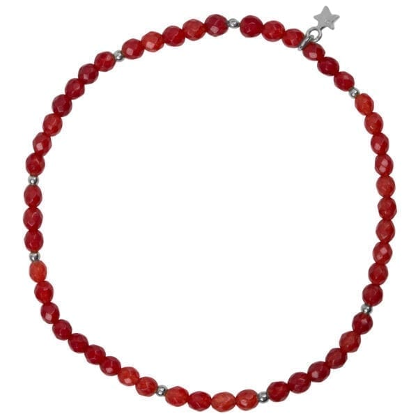 B950 Silver Coral BRACELET Beads Red Agate Bracelet Silver